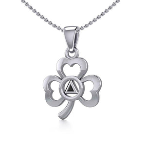Silver Celtic Shamrock Pendant with Inlaid Recovery Symbol TPD5322