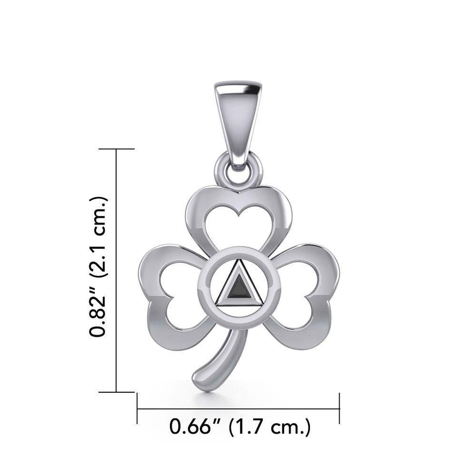 Silver Celtic Shamrock Pendant with Inlaid Recovery Symbol TPD5322 peterstone.