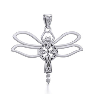 Sterling Silver Dragonfly with Celtic Cross Pendant TPD5323