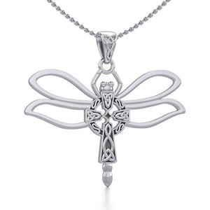 Sterling Silver Dragonfly with Celtic Cross Pendant TPD5323 peterstone.