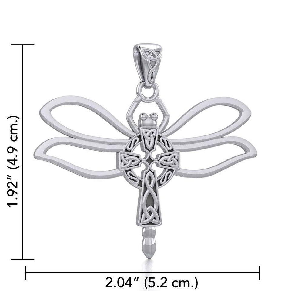 Sterling Silver Dragonfly with Celtic Cross Pendant TPD5323 - Peter Stone Jewelry