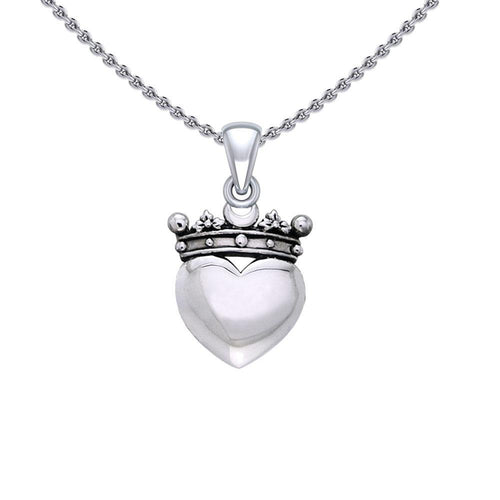 Cari Buziak Heart with Crown Silver Pendant TPD5324 peterstone.