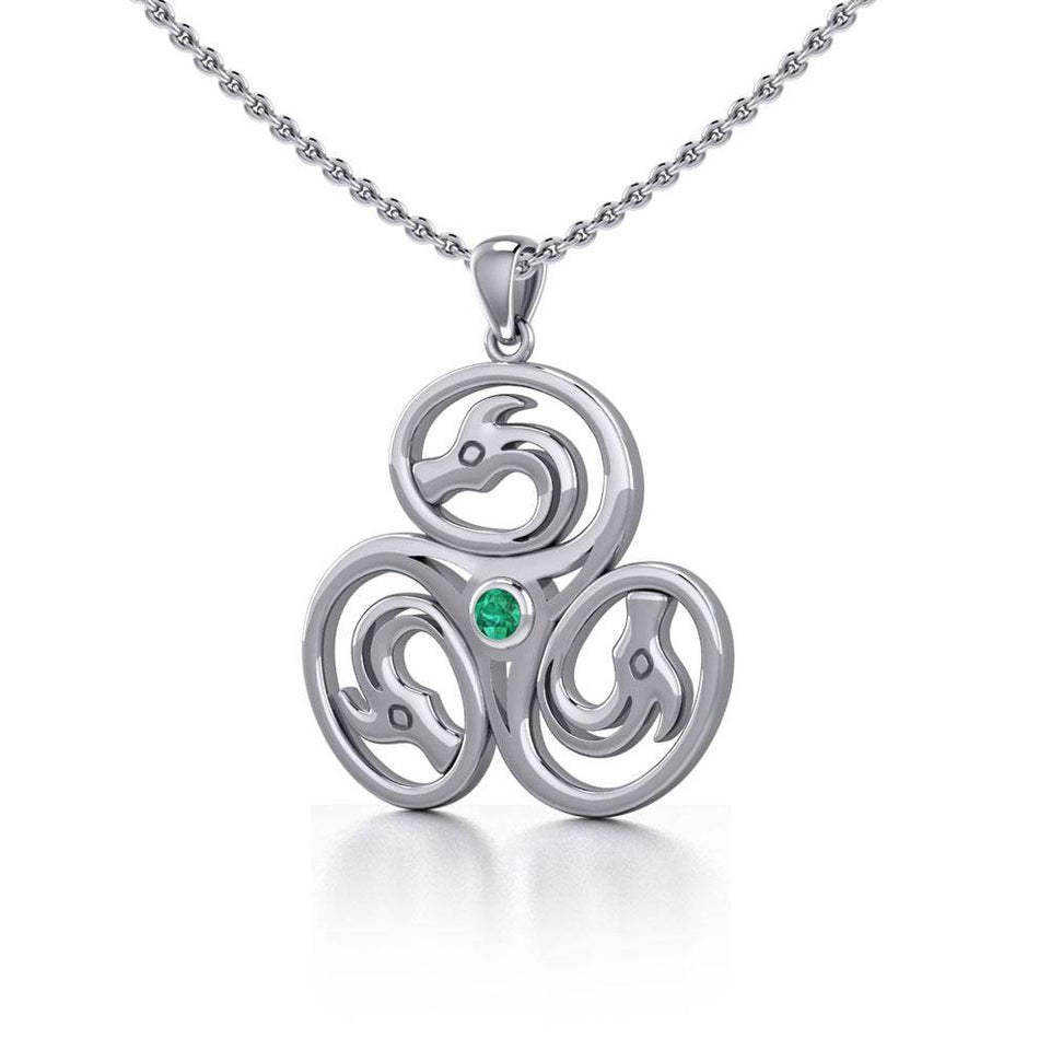 Celtic Triskele Dragon Silver Pendant with Gemstone TPD5326