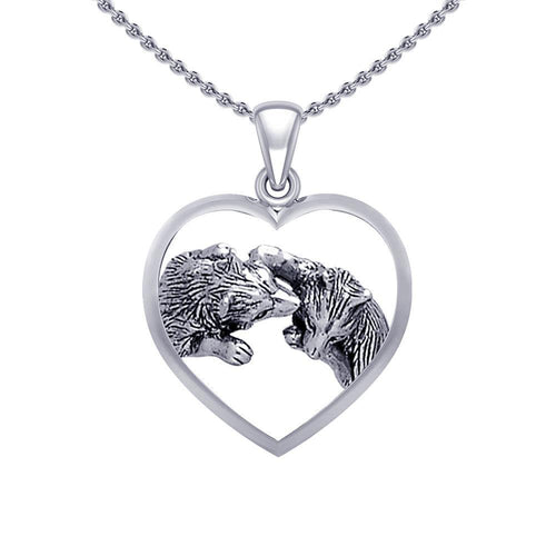 Wolf Kiss in Heart Silver Pendant TPD5327 peterstone.