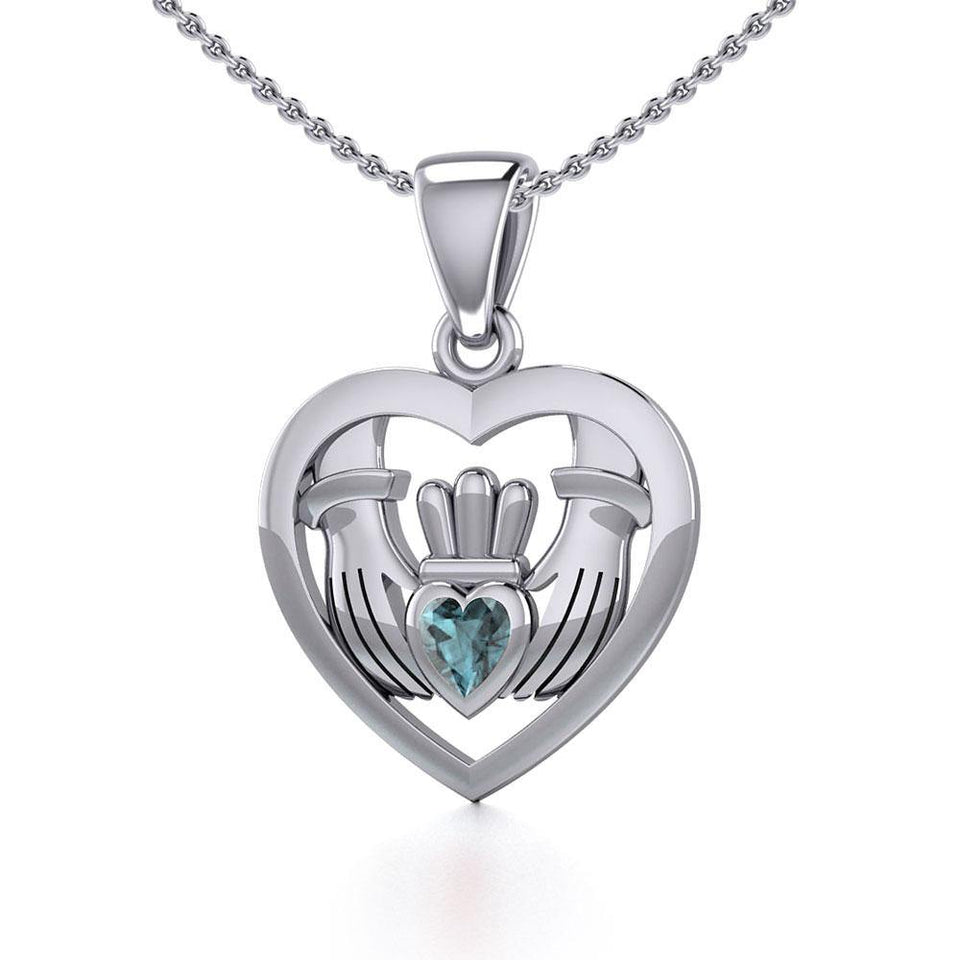 Claddagh in Heart Silver Pendant with Gemstone TPD5330