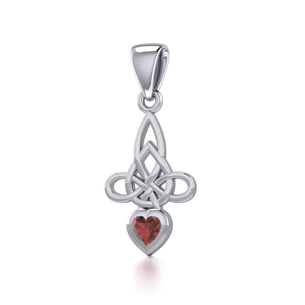 Celtic Witches Knot Silver Pendant with Heart Gemstone TPD5334 Pendant