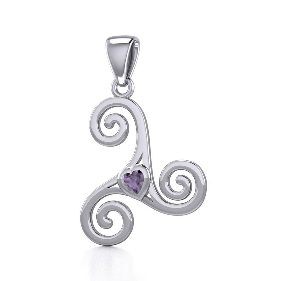 Celtic Spiral Triskele Silver Pendant with Heart Gemstone TPD5335