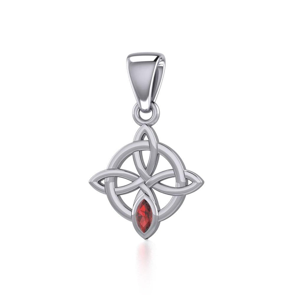 Celtic Quaternary Knot Silver Pendant with Gemstone TPD5336 peterstone.