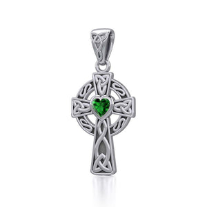 Celtic Cross Silver Pendant with Heart Gemstone TPD5337