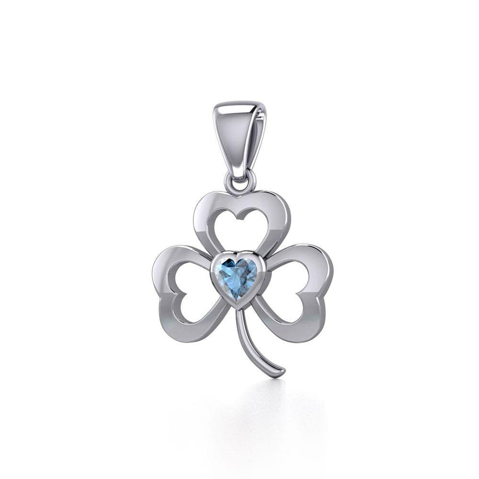 Silver Shamrock Pendant with Heart Gemstone TPD5338 peterstone.
