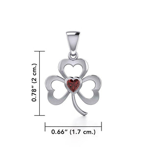 Silver Shamrock Pendant with Heart Gemstone TPD5338