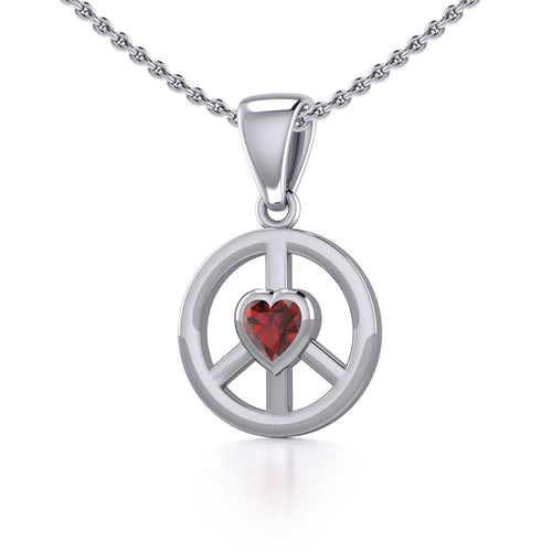 Peace Silver Pendant with Heart Gemstone TPD5339 peterstone.