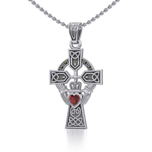 Celtic Cross and Irish Claddagh Silver Pendant with Heart Gemstone TPD5340 peterstone.