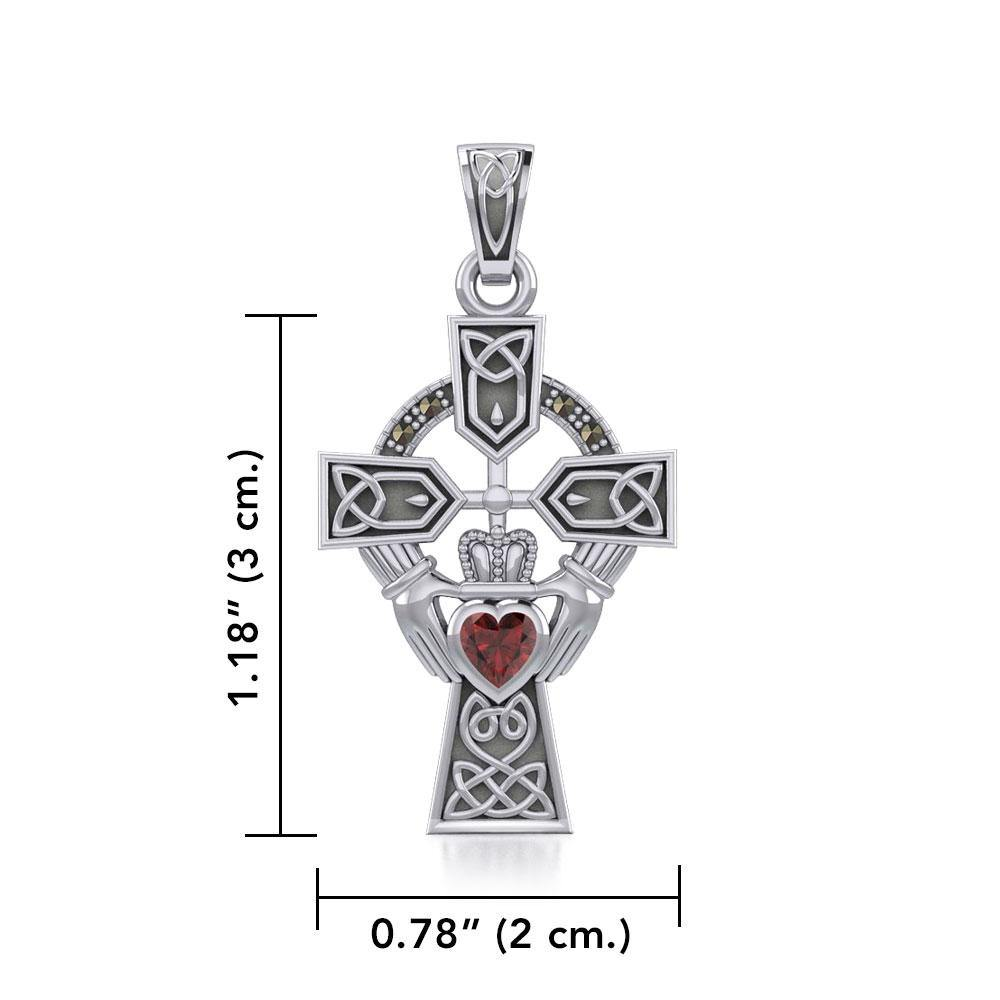 Celtic Cross and Irish Claddagh Silver Pendant with Heart Gemstone TPD5340