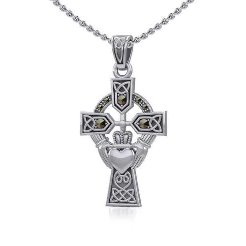 Celtic Cross and Irish Claddagh Silver Pendant with Marcasite TPD5341 peterstone.