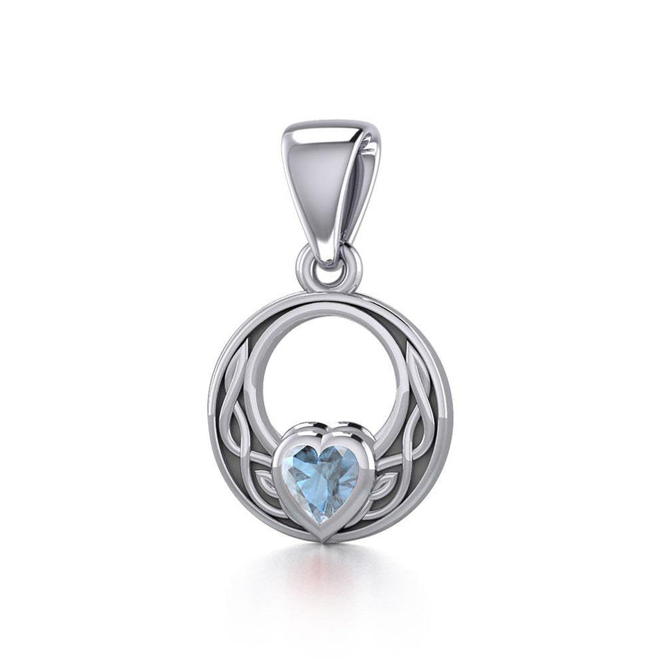 Celtic Knot Silver Pendant with Heart Gemstone TPD5343