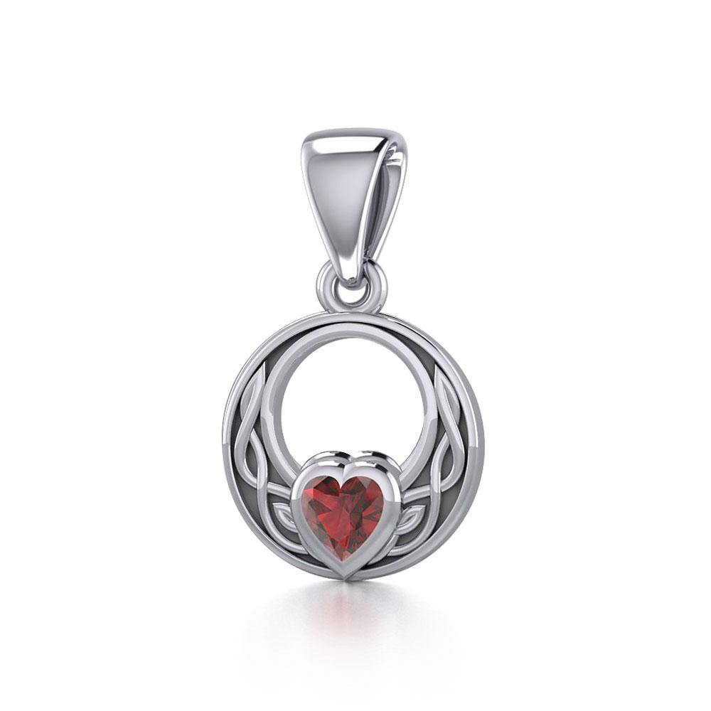 Celtic Knot Silver Pendant with Heart Gemstone TPD5343 peterstone.