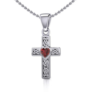 Celtic Cross Silver Pendant with Heart Gemstone TPD5347 peterstone.