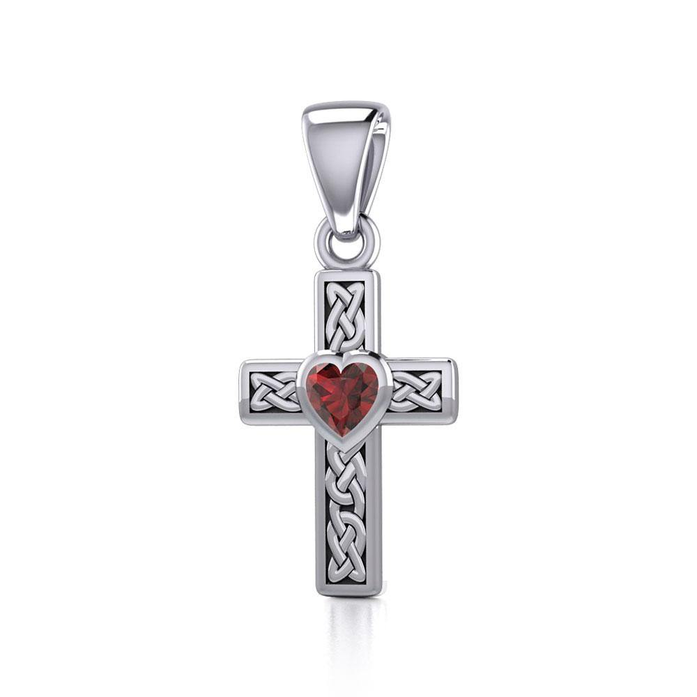 Celtic Cross Silver Pendant with Heart Gemstone TPD5347