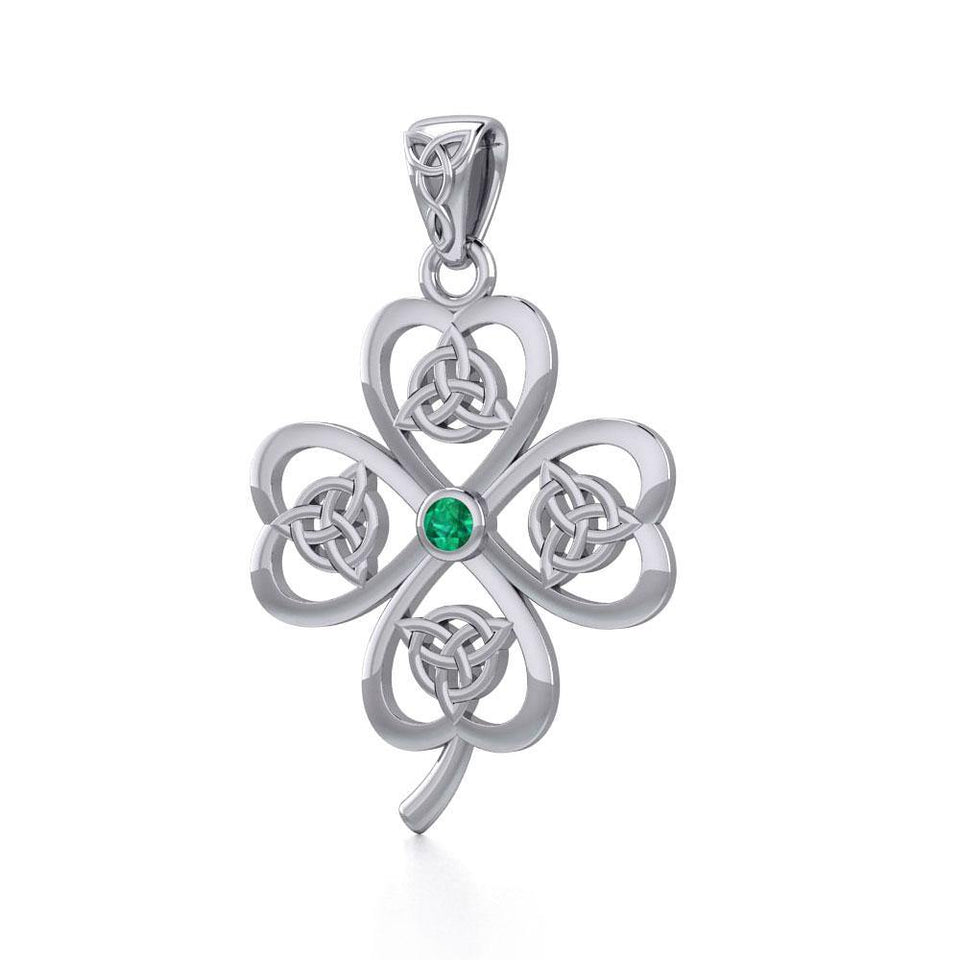 Lucky Four Leaf Clover with Triquetra Silver Pendant with Gemstone TPD5348 peterstone.