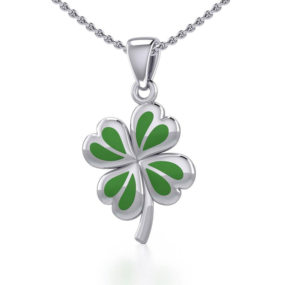 Lucky Four Leaf Clover Silver Pendant with Enamel TPD5349 peterstone.