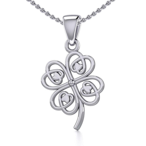 Lucky Four Leaf Clover Silver Pendant TPD5352