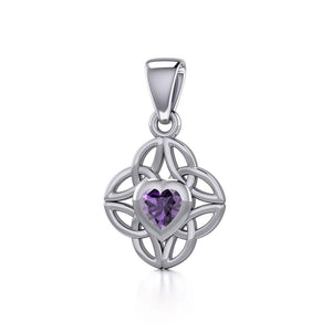 Celtic Knotwork Silver Pendant with Heart Gemstone TPD5353 peterstone.