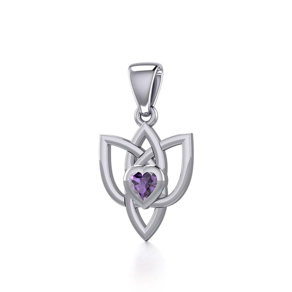 Celtic Knotwork Silver Pendant with Heart Gemstone TPD5354 peterstone.