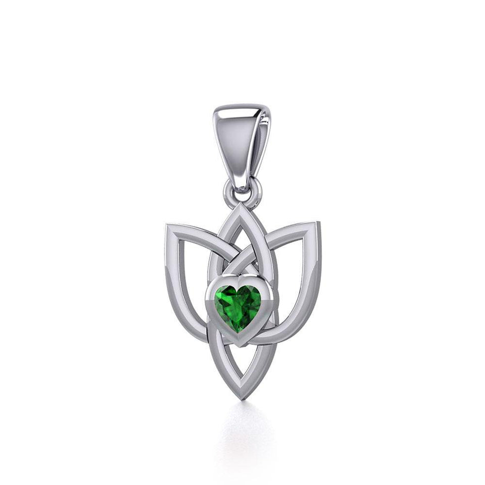 Celtic Knotwork Silver Pendant with Heart Gemstone TPD5354