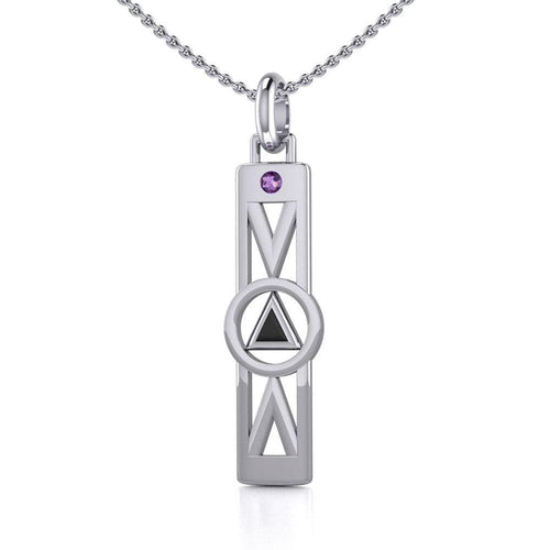 Modern Recovery Silver Pendant with Gemstone TPD5355 peterstone.