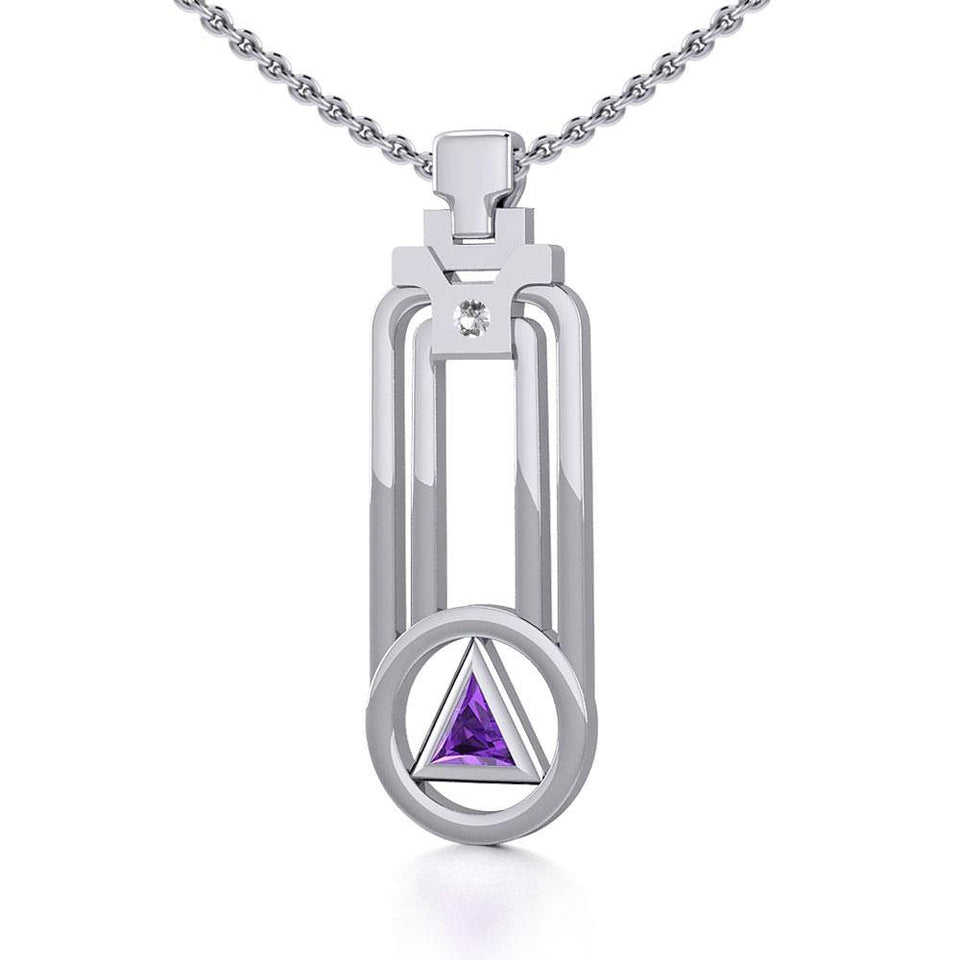 Modern Geometric Recovery Silver Pendant with Gemstone TPD5356