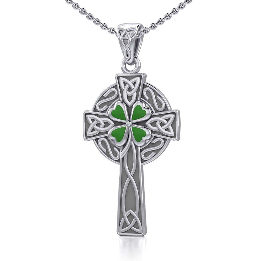 Silver Celtic Cross with Enamel Clover Pendant TPD5358 peterstone.
