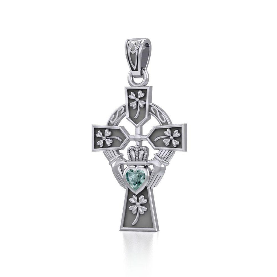 Claddagh Celtic Cross with Lucky Four Leaf Clover Silver Pendant TPD5359