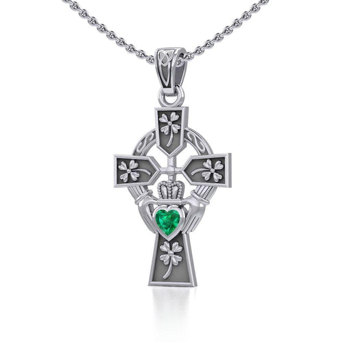Claddagh Celtic Cross with Lucky Four Leaf Clover Silver Pendant TPD5359 peterstone.