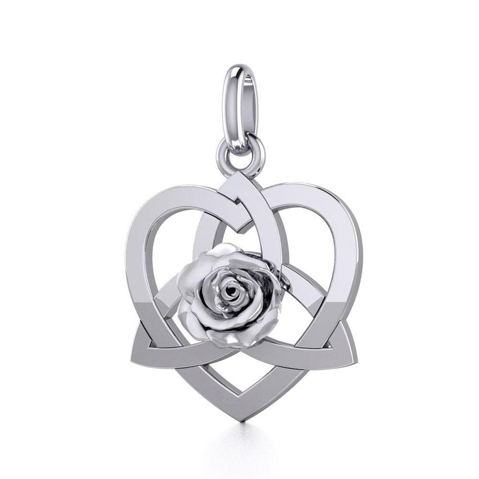 Trinity in Heart with Rose Silver Pendant TPD5360