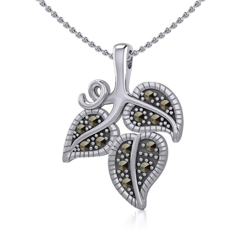 Vine Flower Silver Slider Pendant with Marcasite TPD5361 peterstone.