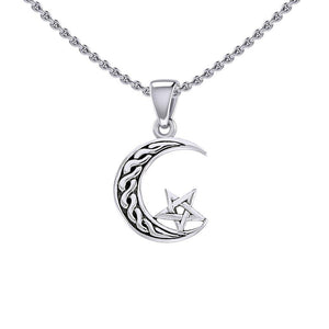 The Star on Celtic Crescent Moon Silver Pendant TPD5365 peterstone.