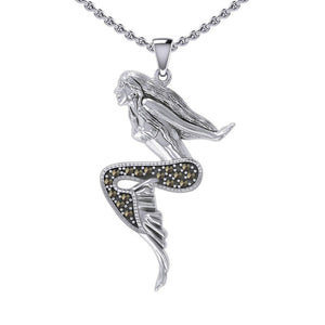 The Goddess Mermaid Silver Pendant with Marcasite TPD5369 peterstone.