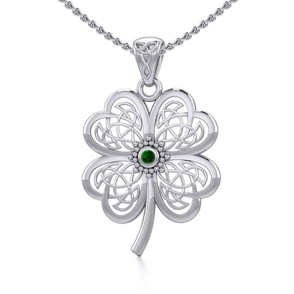 Lucky Celtic Four Leaf Clover Silver Pendant with Gemstone TPD5373
