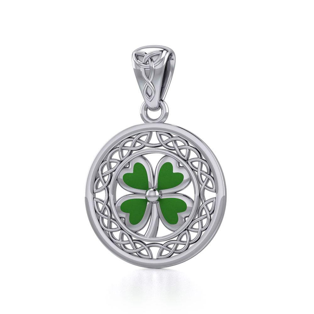Lucky Celtic Four Leaf Clover Silver Pendant with Enamel TPD5374