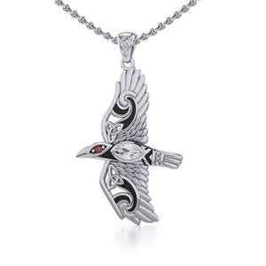 Mythical Raven Silver Jewelry Pendant with Gemstone TPD5382 peterstone.