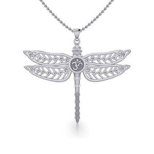 The Celtic Dragonfly with Om Symbol Silver Pendant TPD5384
