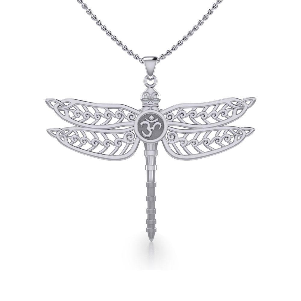 The Celtic Dragonfly with Om Symbol Silver Pendant TPD5384 peterstone.