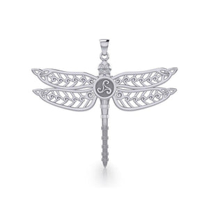 The Celtic Dragonfly with Triskele Silver Pendant TPD5385