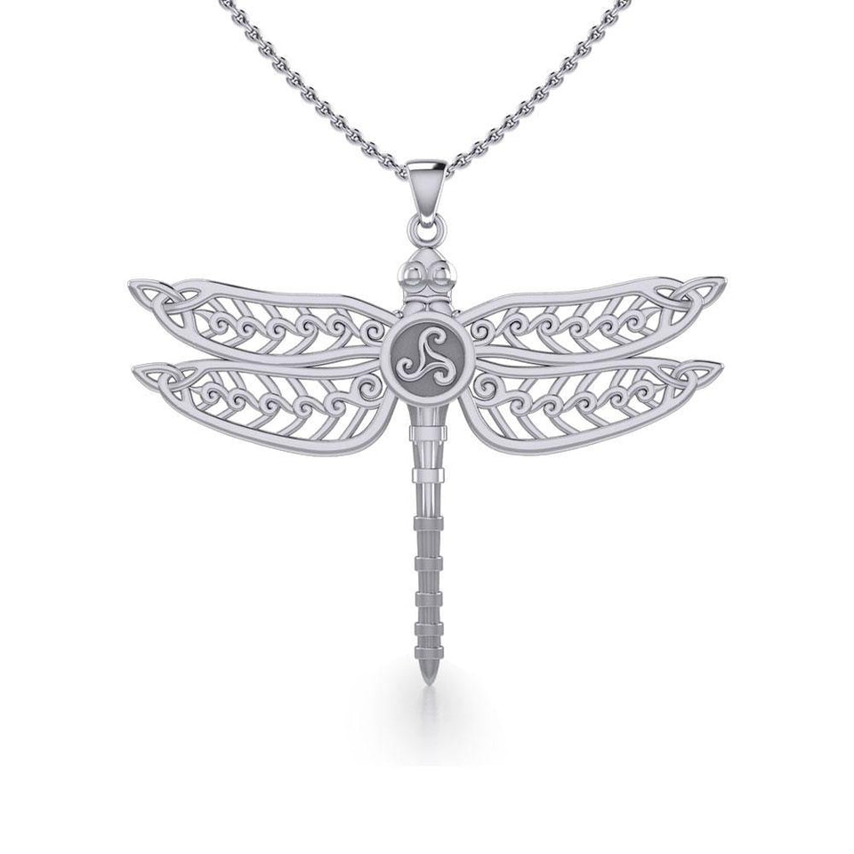 The Celtic Dragonfly with Triskele Silver Pendant TPD5385 peterstone.