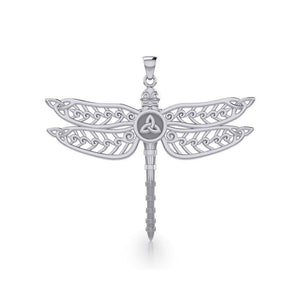 The Celtic Dragonfly with Trinity Knot Silver Pendant TPD5386