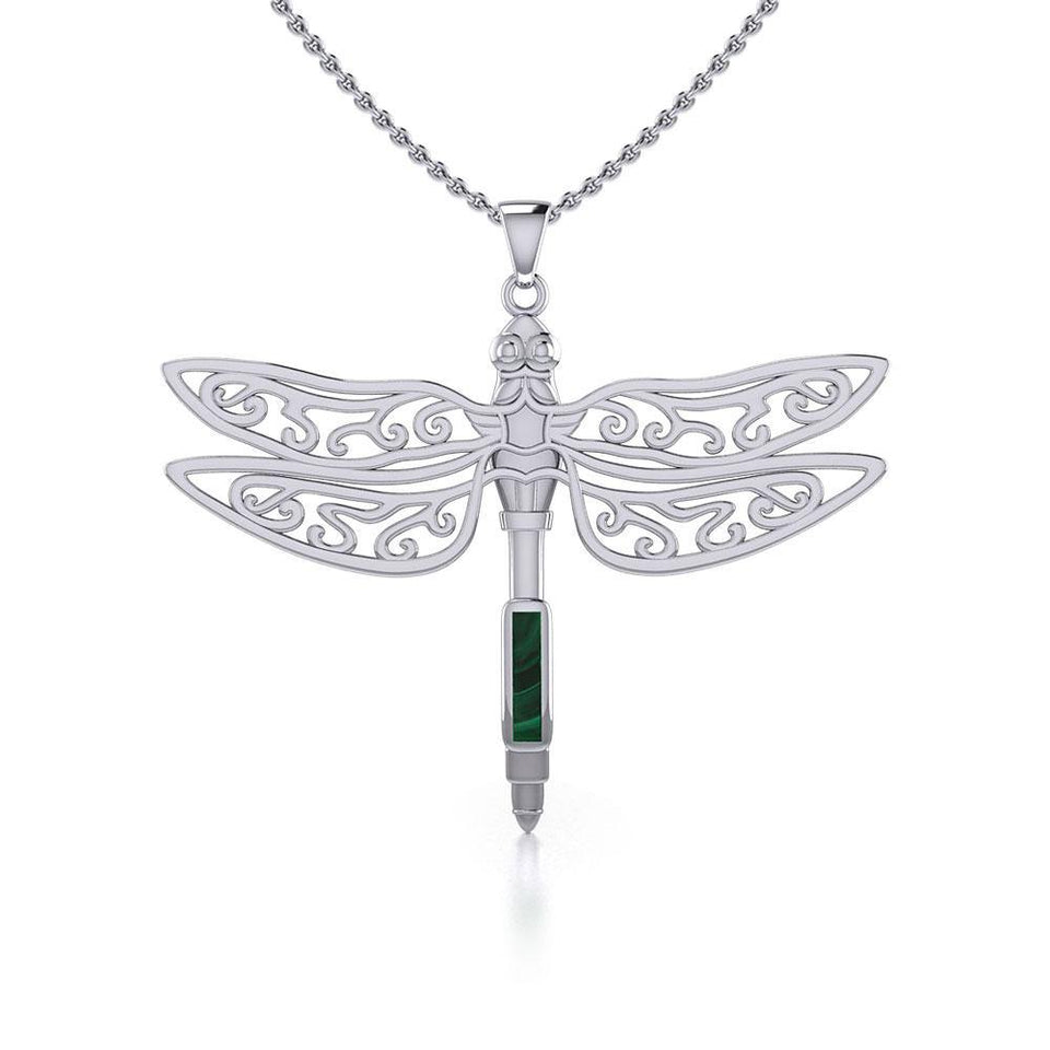 The Celtic Dragonfly with Inlay Stone Silver Pendant TPD5388 peterstone.
