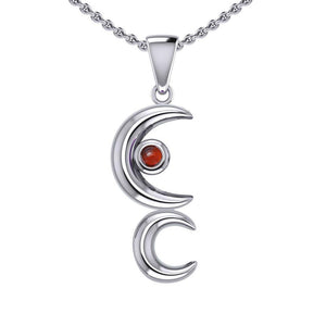 A Glimpse of the Double Crescent Moon Beginning Silver Pendant with Gems TPD5390 peterstone.