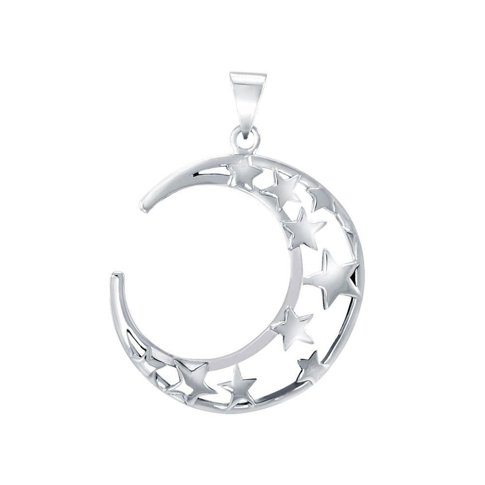 A Glimpse of the Crescent Moon and Stars Silver Pendant TPD5391