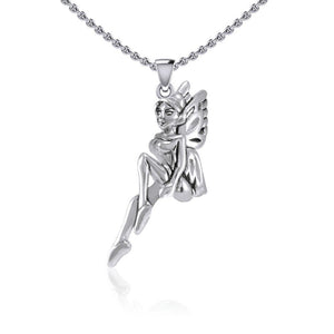 Enchanted Sitting Fairy Silver Pendant TPD5396 peterstone.